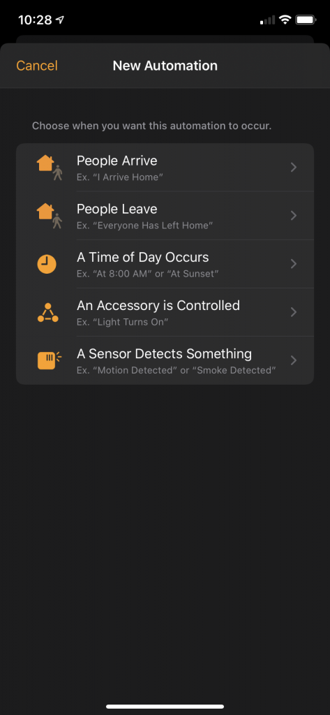 Home App New Automation Screen