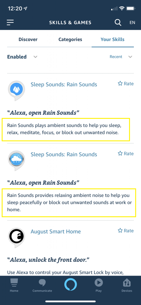 Two Alexa Skills that look identical, except for the descriptions