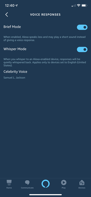 Voice Response Settings in the Alexa App, including Brief Mode